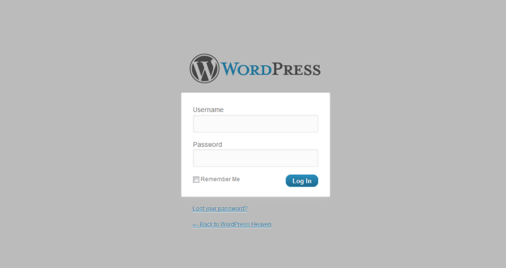 The WordPress login page with a custom stylesheet loaded in
