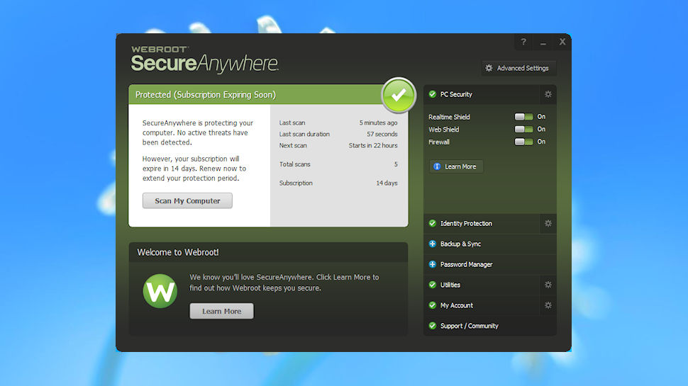 Webroot SecureAnywhere AntiVirus is extremely undemanding without compromising on protection