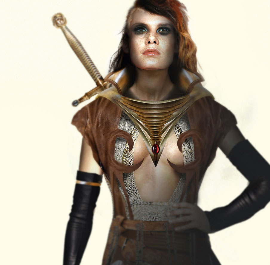 Female fantasy figure with strong shadows