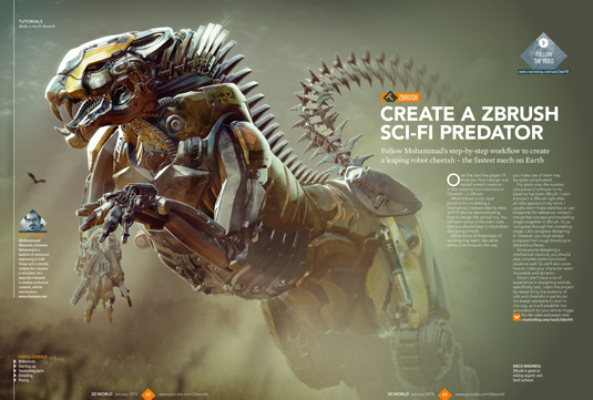 Get inspired with ZBrush robot art in the new 3D World issue