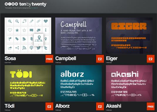 Download fonts: Ten by Twenty