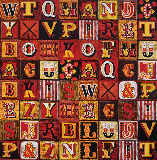 linocut Peckham Alphabet