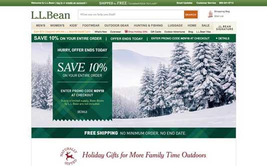 LL Bean homepage