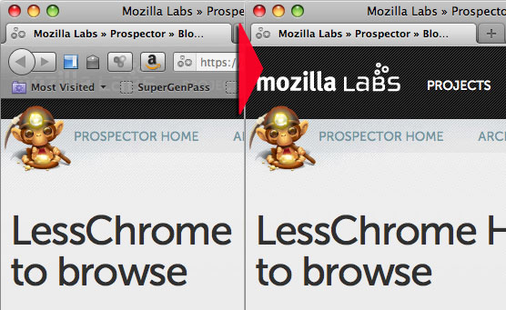 Mozilla's experimental LessChrome HD add-on only shows the address bar when the user mouses over a window tab