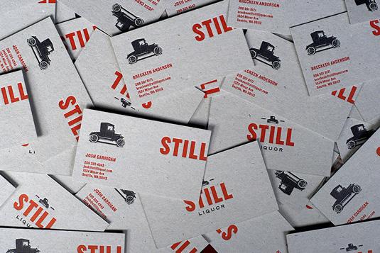 Letterpress business cards: Still Liquor