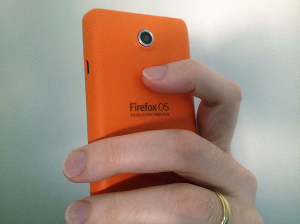 Firefox OS hardware back, showing the camera.