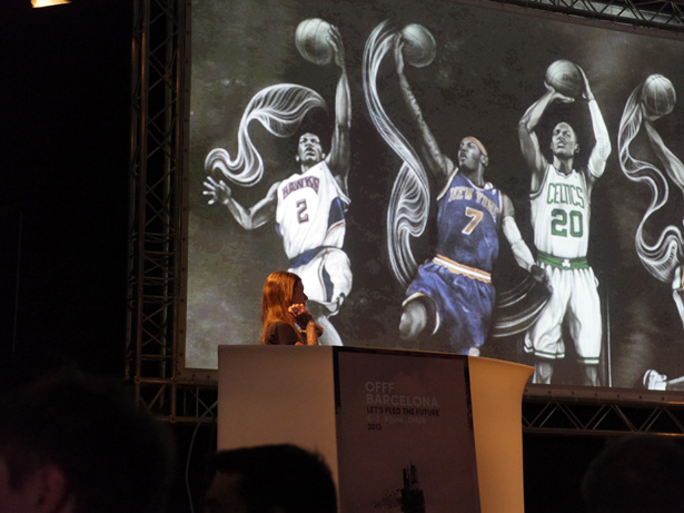 Sara Blake showing her work for Nike during her talk