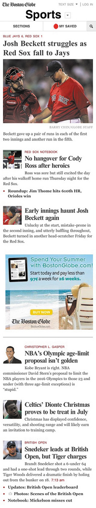 Advertising appears in the right-hand sidebar on the desktop version of the new Boston Globe site, but is reconfigured to tuck between elements as you scroll down the page in the smartphonesized version
