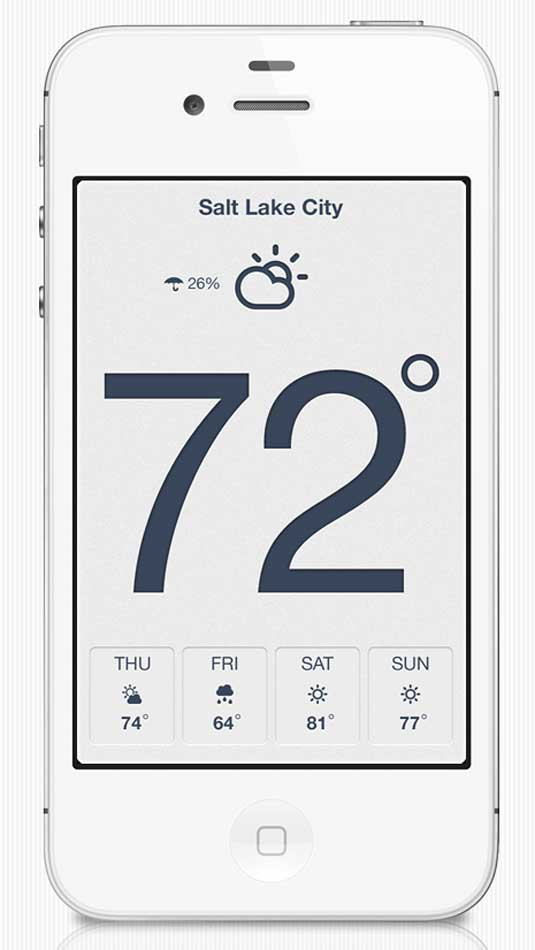 Examples of flat design: Weather app
