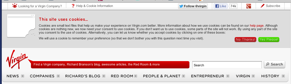 Virgin uses a simple, informative and timely site-wide form