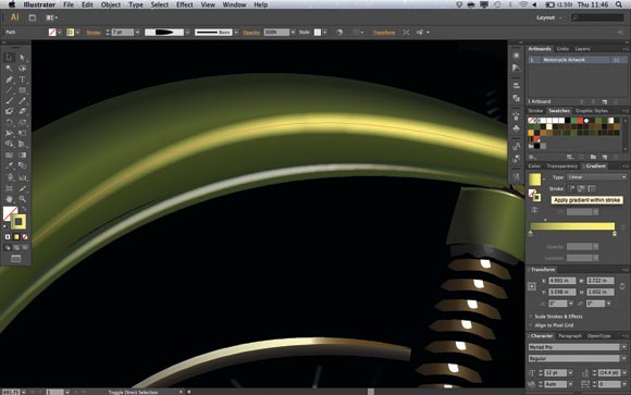 Adobe Illustrator CS6: Using the new options in the Gradient panel