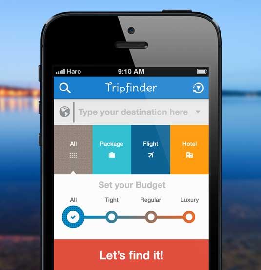 Examples of flat design: Tripfinder