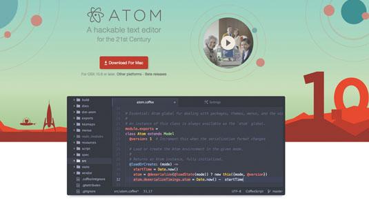 Atom text editor: homepage