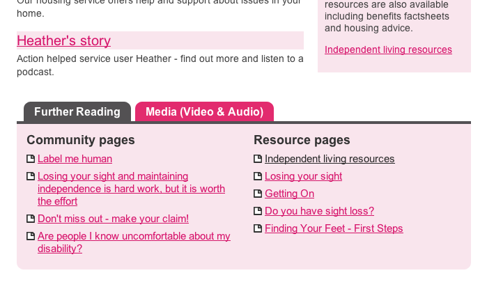 Screengrab from site showing lots of easy accessed content
