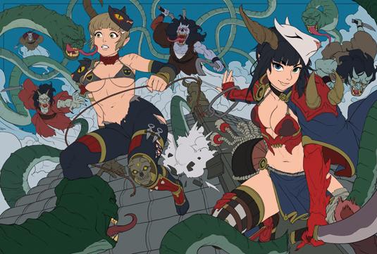 Paint an epic manga monster fight scene