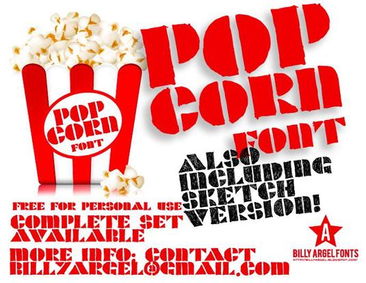 Free stencil fonts: Popcorn