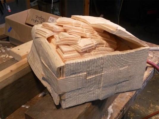 wooden paper sculptures