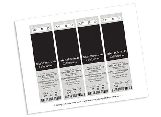 Invitation templates: ticket invite
