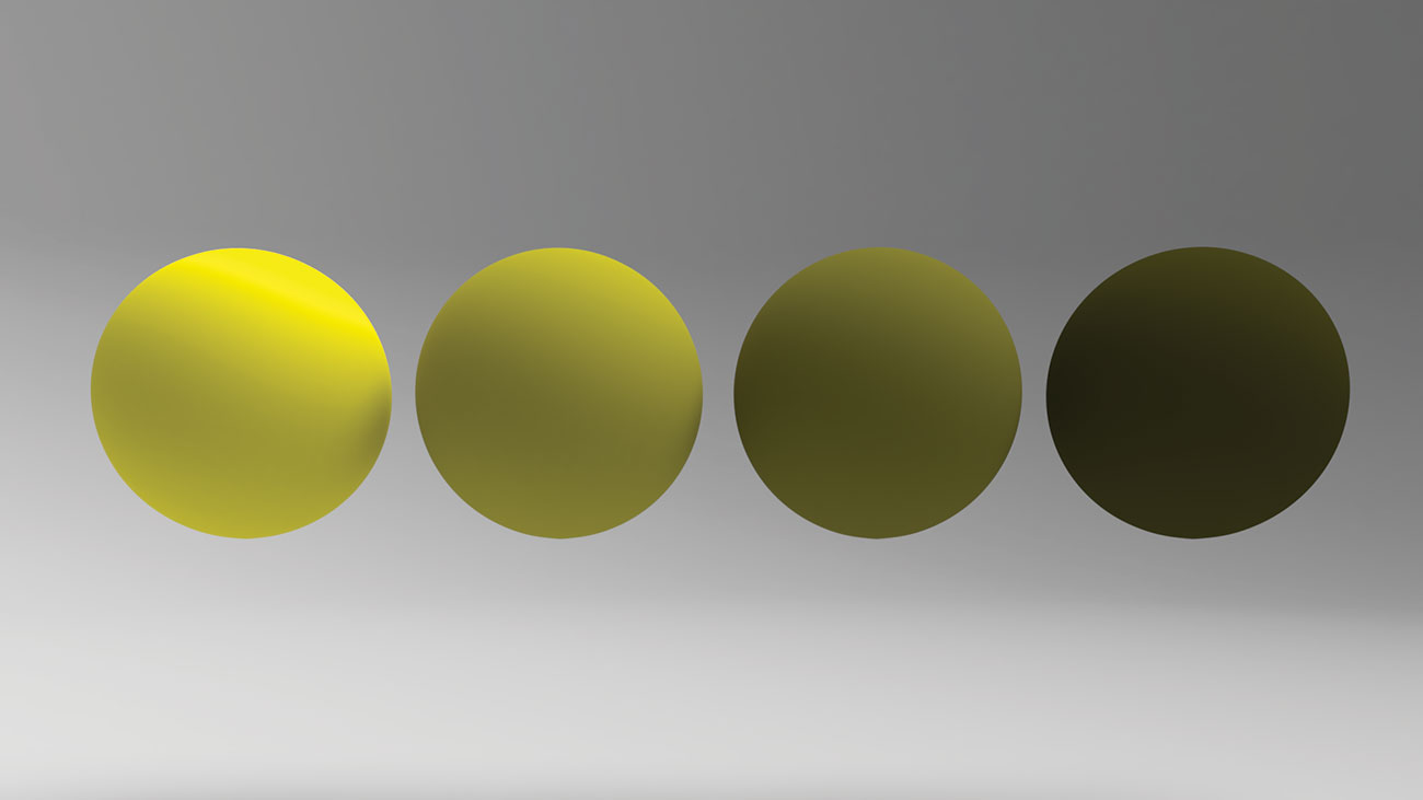 four tennis balls with different brightness