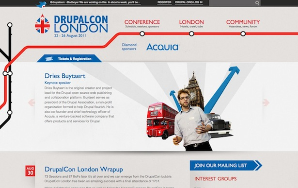 As part of my role on the DrupalCon London team I worked on developing the site to include ticket registration, session submissions, schedules, news, and information