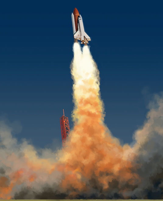 Learn to paint a rocket trail