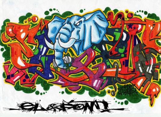 Graffiti font El&font Block