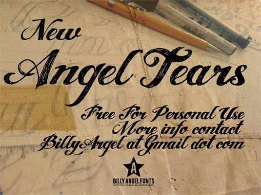 Tattoo font: Angel Tears