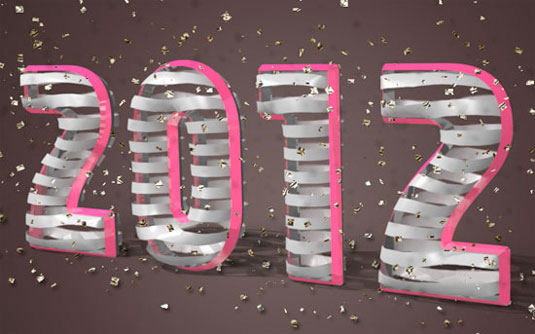typography tutorials: 3D ribbon wrapped text effect