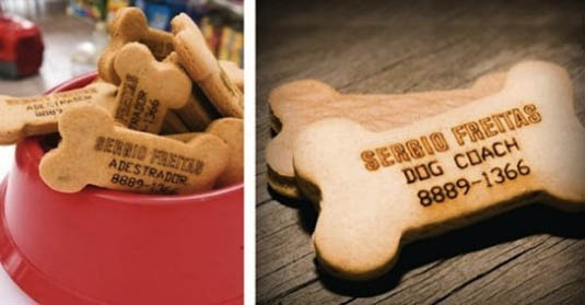 business cards in shape of dog treats