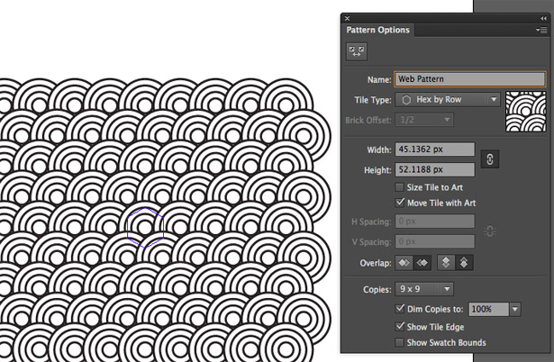 The Pattern Options dialog enables you to control how your pattern repeats