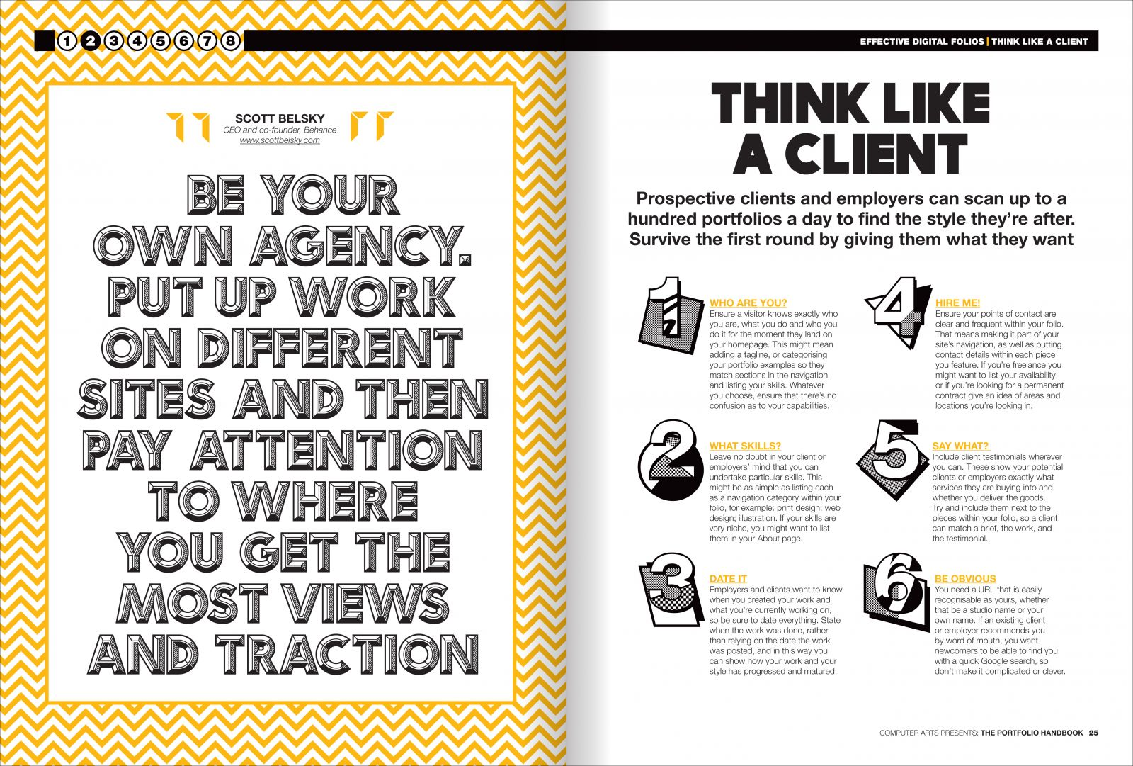 Spread from chapter two: think like a client