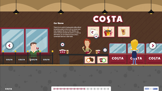 Example of parallax scrolling websites: Costa Coffee
