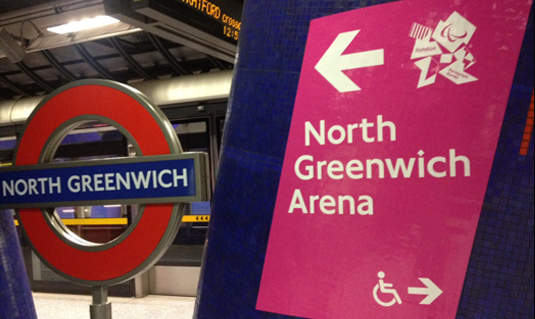 sign for North Greenwich during Olympics in London