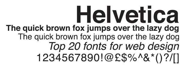 Web fonts: Helvetica