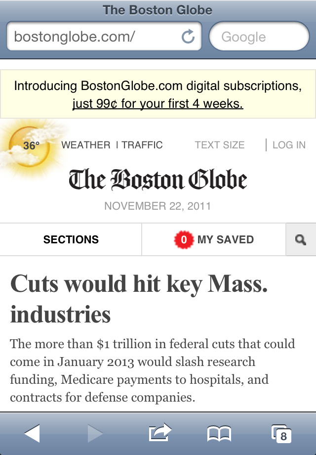 The Boston Globe is a beautiful, state-of-the-art mobile first design. But it involved numerous design consultants and months of work to execute