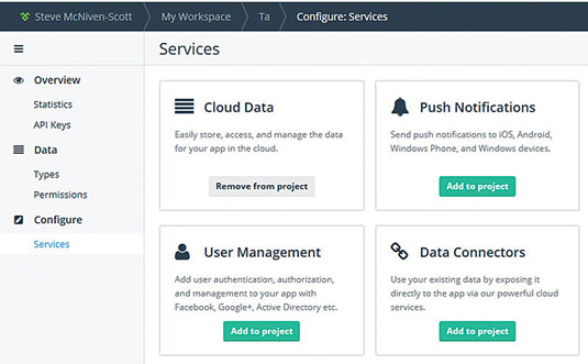 It's simple to add or remove services from your Telerik platform project