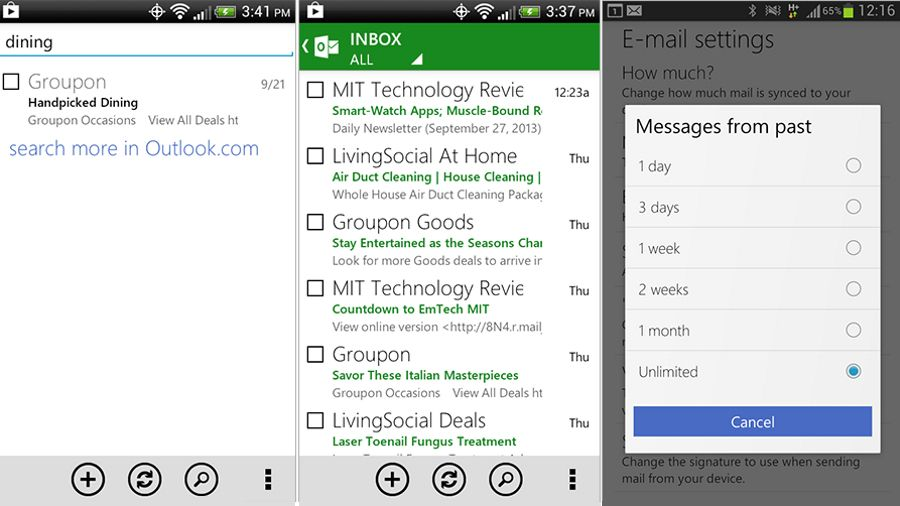 outlook com app for android gets out of office replies