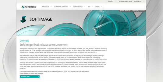 Autodesk discontinues Softimage