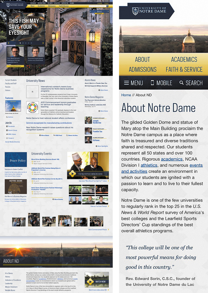 On larger screen sizes, the University of Notre Dame's main navigation anchor links to content further down the homepage, like the