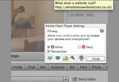 Flash asking for permission to access your camera and microphone on Chatroulette