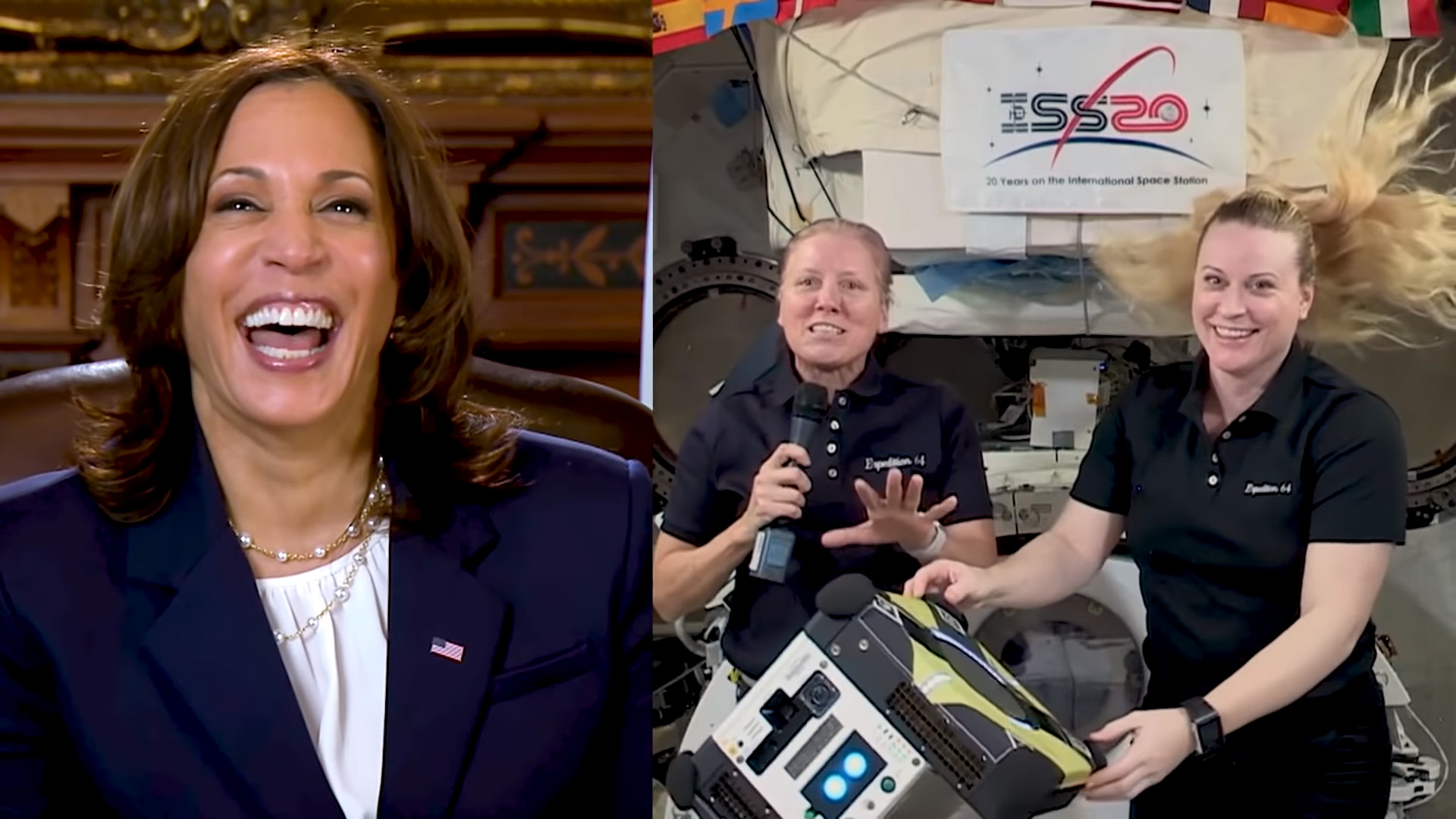 <p>Watch VP Kamala Harris speak with NASA astronauts in Area for Women's History Month thumbnail