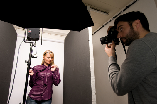 Studio portrait photography: dark boards
