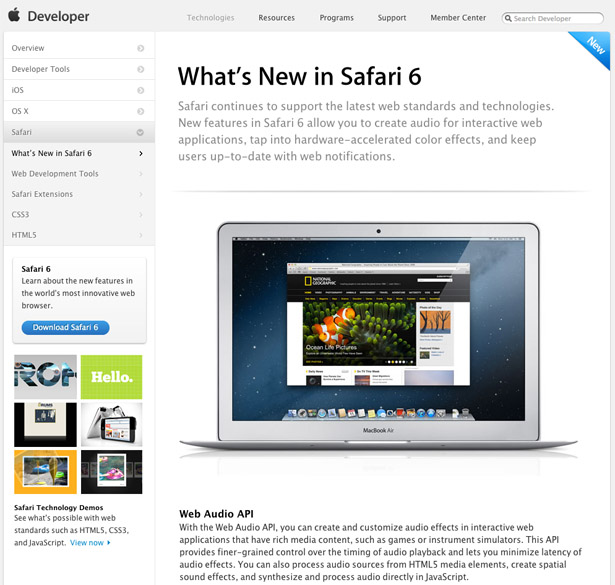 The latest version of Safari offers the new Web Audio API, and some... er, interesting opportunities regarding private browsing