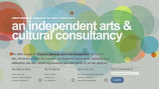 Example of parallax scrolling websites: Cultural Solutions