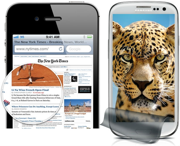 Samsung Galaxy S3 display vs iPhone 4 retina display