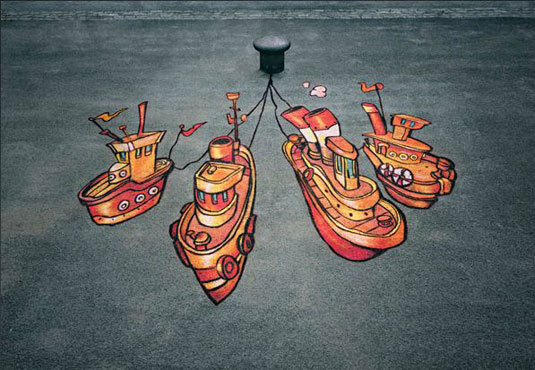 orange street art: boats