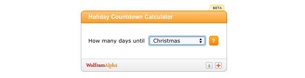 Christmas countdown widgets: Wolfram Alpha