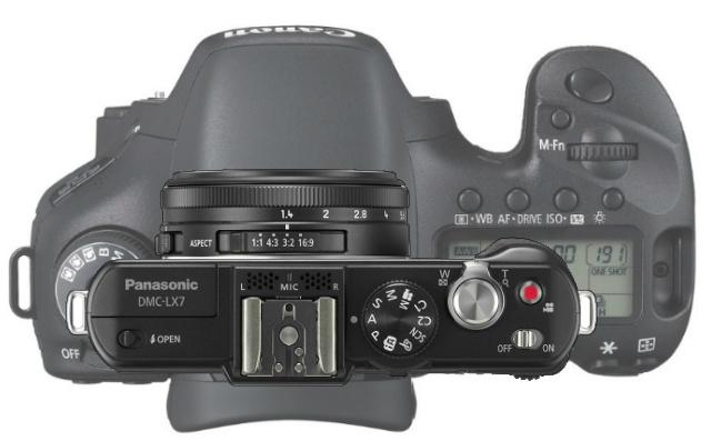 Canon 7D vs Panasonic Lumix LX7 Top Overlay