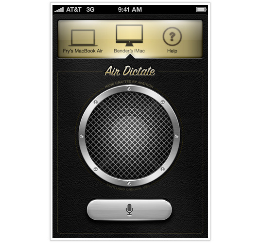 iPhone app designs: Air Dictate