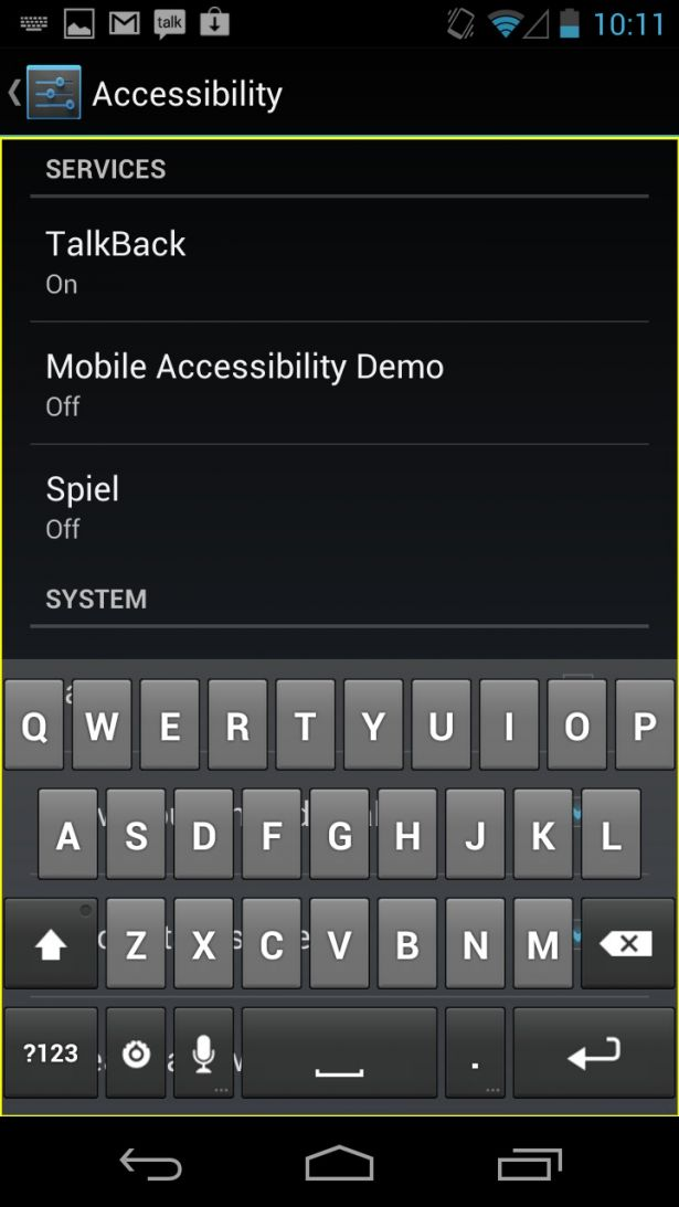The Talkback settings screen showing the 'Explore by touch' tutorial
